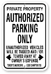 1AP004 Authorized Parking Sign Toronto Municipal Code Chapter 915