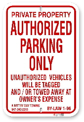 1AR0R4 Authorized Parking Only Sign By-Law 1-96 with Towing Company Information