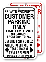 1CP101 customer parking only with time limit and toronto municipal code chapter 915 by all signs co