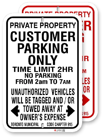 1cpmo2 customer parking only with time limit and toronto municipal code chapter 915 by all signs co