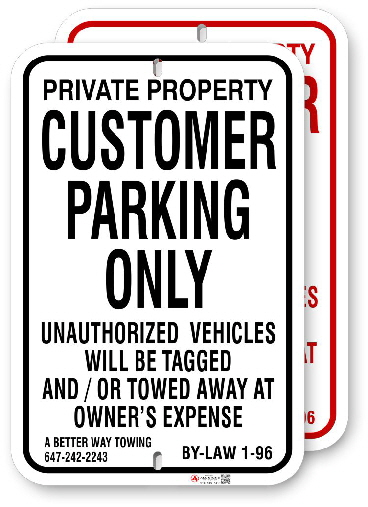 1CPRR1 Customer Parking Only with Vaughan By-Law 1-96 and Towing Company Info