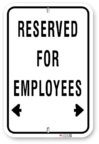 1EP002 Basic Reserved for Employees sign