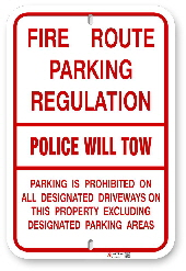 1FR001 Fire Route Parking Regulation - Police will Tow