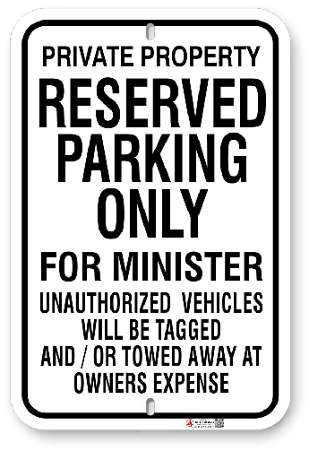 1MIN01 Reserved Parking Only for Minister