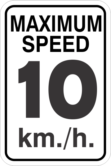 1MS001 Maximum Speed 10 km/h Aluminum sign for cottage country Ontario