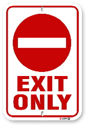 1NE201 Exit Only sign