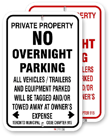 1NP009 No Overnight Parking sign with black or red graphics