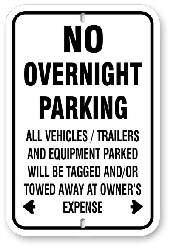 1np010 no overnight parking sign