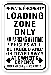 1nplz1 no parking loading zone sign