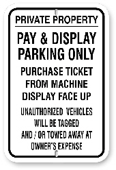 1npp01 no parking pay & display parking only - aluminum parking sign