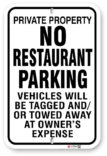 1NRP01 No Restaurant Parking Sign