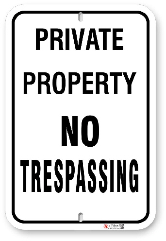 1NT002 No Tresspassing sign