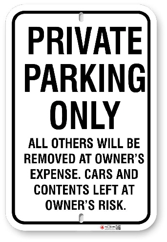 1PPU01 Private Parking Only Sign