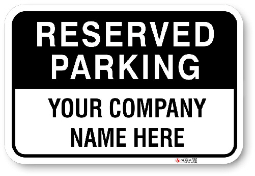1RPPA5 Custom Reserved Parking sign with Black Top back ground
