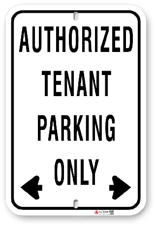 1tp005 basic authorized tenant parking sign made by all signs co