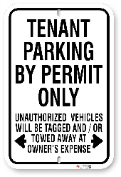 1tp009 tenant parking by permit only sign made by all signs co