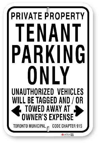 1TPA01 Tenant Parking Only Sign with Toronto Municipal Code Chapter 915