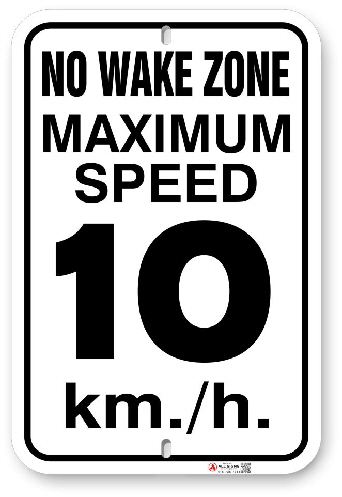 1WZ001 No Wake Zone Maximum Speed km per hour