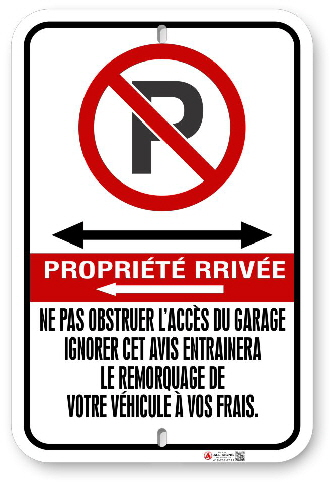 2FFRC2 French Canadian Fire Route sign by ALL Signs Co