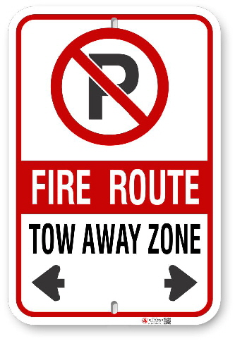 2FRC03 Fire Route SignTow Away Zone Aluminum Parking Sign