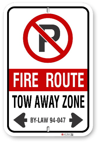 2FRCB2 Fire Route sign with By-Law 94-047 by ALL Signs Co