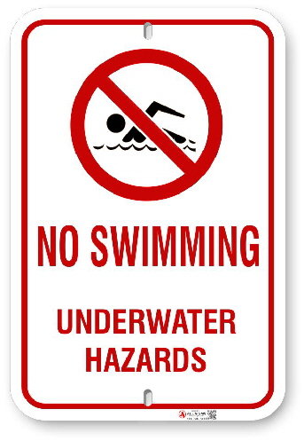 2NS001 No Swimming Under Water Hazard sign