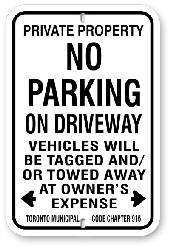 inp008 no parking any time on driveway toronto by-law 915